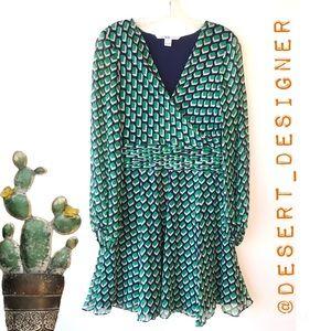 Diane von Furstenburg Green Navy Chiffon Dress 6